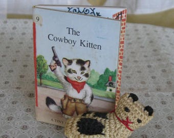 Vintage Tiny Golden Book The Cowboy Kitten & Tiny Crochet Kitten Cat