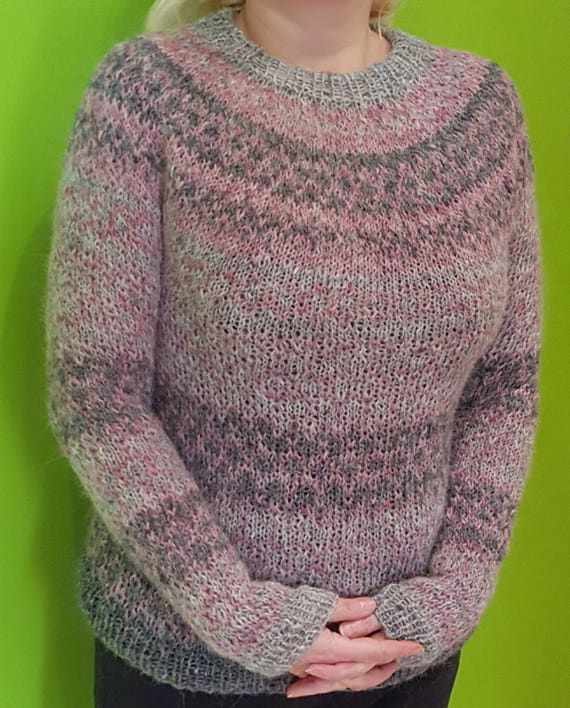 Hand knitted Fair Isle sweater 100% natural SALE