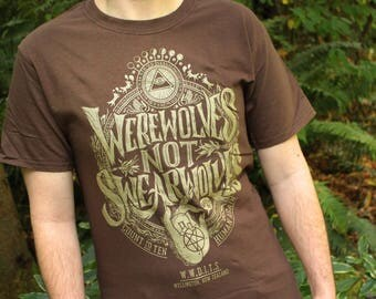 Werewolves Not Swearwolves T-Shirt | What We Do In The Shadows Shirt | Brown and Gold What We Do In The Shadows Shirt