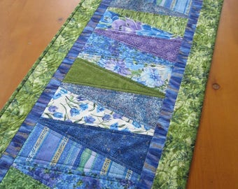 Spring table runner floral handmade quilted pink purple runner spring table runner handmade runner quilted floral runner blue green runner home dec negle Gallery