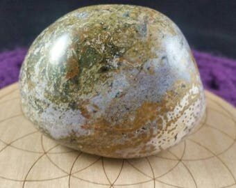 Ocean Jasper Large Palmstone Gallet Crystal Stones Crystals Palm Stone Unique Green Blue Purple Display Orbicular