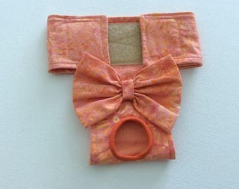 Female Dog Diaper / Panties - Nappies - Britches - Tangerine/Coral Daisies - Available in all Sizes
