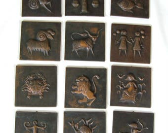 Set 12 Zodiac Sun Sign Wall Plaques  Vintage Copper Repousse Cellini Italy 60's Astrology 5 each
