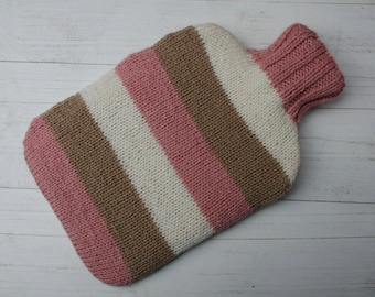 Hot water bottle cover knit in pink, cream and brown