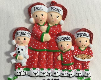 Pajama Family of Five Personalized Christmas Ornament , Grandparents-Family of Five Grandkids, Co-workers, Friends