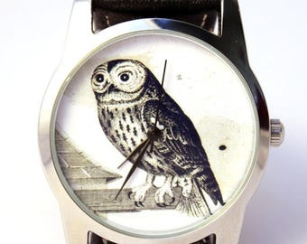 ON SALE 25% OFF Owl Watch, Vintage Style Leather Watch, Women Watches, Boyfriend Watch, World Map, Men's Watch , Brown,