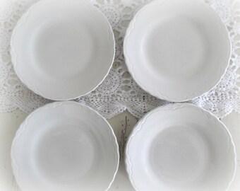 Vintage Ironstone Plates Cream Ware Scalloped Edges