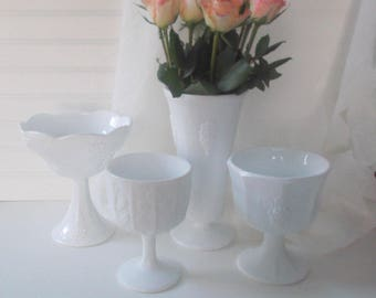 Vintage Milk Glass Vases, Wedding Centerpieces Four Milk Glass Compotes