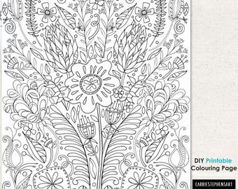 Flower Coloring Page, Adult Colouring Printable, Floral Print Design, Printable Wall Art, Hand Drawn Digital Illustration, Instant Download