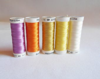 Set Of Five Various Sulky Rayon Embroidery Thread