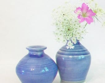 Blue Vases - Set of 2 Vases  - Handmade, Wheel-thrown, Actual Set - Ready to Ship