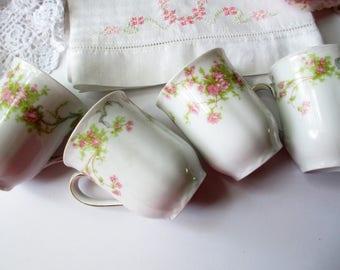 Vintage Pink Rose Chocolate Cups Bavarian Richelieu Peerless Marlboro Set of Four - Shabby Sweet