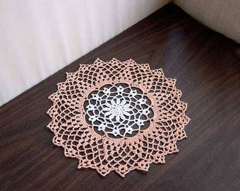 Spring Flower Crochet Lace Doily, Peach and White Table Decor, Cottage Chic Decoration, White Flower, Peach Lace, Delightful Design