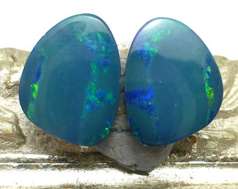 Boulder Opal Cabochons Pair Set Doublet Australian Green Blue Teal Flashing Australia Freeform Designer Handmade Jewelry Earrings Cabochon