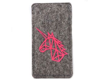 Flocked pink Unicorn for iPhone 6, 6 and 7 iPhone, cellphone made of high-quality wool felt