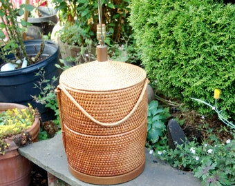 "Monumental 33"" tall Woven Wicker / Rattan Table Lamp ~ Large Wicker 33"" Table Lamp ~ MCM Wicker / Rattan Woven Basket Table Lamp ~ Handmade"