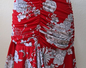 Geometric pattern red skirt just for your party or for your social wear plus made in U.S.A(v66)