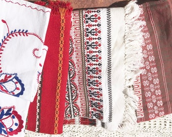 Bundle of ethnic woven fabrics linen lot of 5 pieces red white black blue