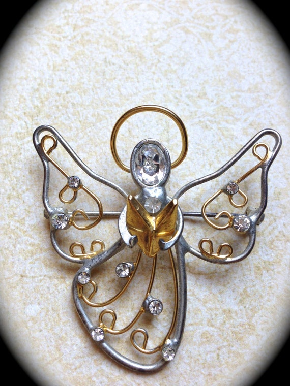 Vintage rhinestone angel- Christmas brooch pin-Gold Silver Angel Gift- Holiday Gift- Religious Gifts- Personalized Gifts- Vintage Jewelry