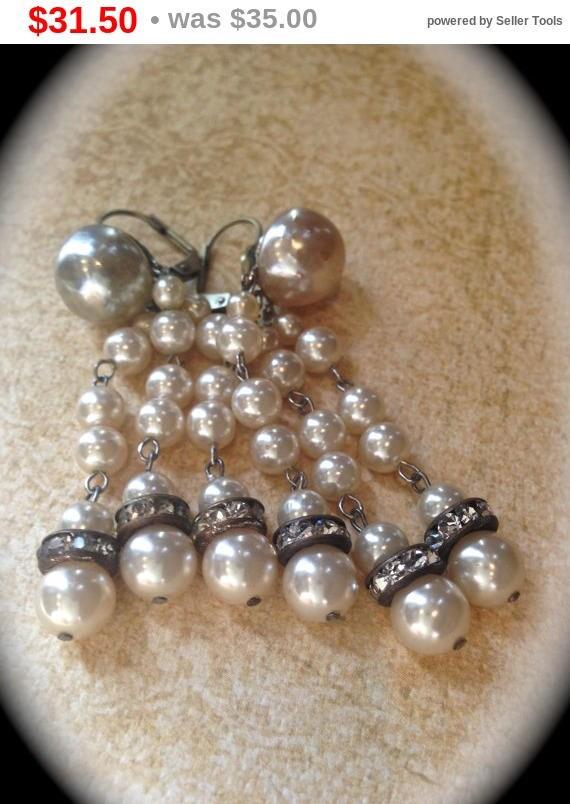 Summer Sale Pearl Chandelier Tassel Earrings- Vintage dangle earrings- Bridal Vintage Ivory Cream Pearl Earrings- Victorian Costume Earrings