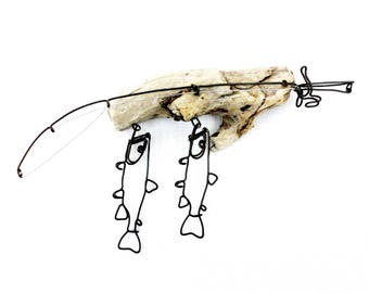 Trout Stringer and Fishing Rod Wire Sculpture, Trout Wire Art, Minimal Wire Sculpture, 558924173