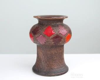 Bitossi Italian Abstract Squiggle Leaf Design Stoneware Vase