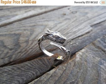 ON SALE Dragon ring handmade in sterling silver 925 adjustable