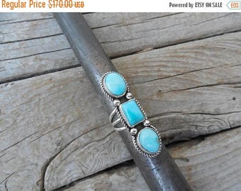ON SALE Three stone turquoise ring handmade in sterling silver 925 with beautiful blue turquoise from the Sleeping Beauty mine