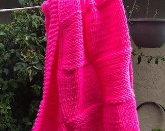Christmas in July Knit crib baby blanket acrylic yarn (Hot Pink)