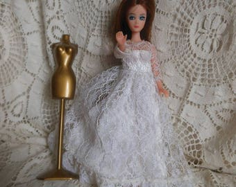 Dawn Doll Longlocks in Wedding Gown White Shoes Vintage at Quilted Nest