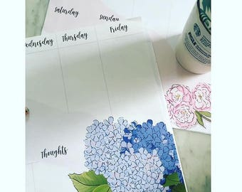 Floral Note Pads - Coffee and Roses - Weekly Desk Pad - Heather Stillufsen - Note Pads - Gifts
