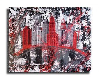 Tableau toile new york city rouge noir gris blanc collage design