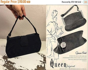 Anniversary Sale 35% Off Will She Stay the Course - Vintage 1940s Navy Blue Corde Rayon Handbag Purse Bag