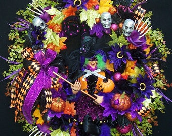 GLAMOROUS SABRINA  Goes To  Ball  Halloween Witch Wreath Bats Skulls  With Bling