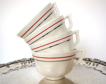 Mid Century Coffee Cups Porcelain Fine China Set of Four from AllieEtCie
