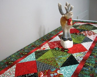 Christmas Table Runner Quilted Woodland Quilt Quiltsy Handmade Juniper Berries Trees Wildlife FREE U.S. Shipping