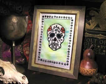 Day of the Dead Wall Art Framed Punch Needle Embroidery