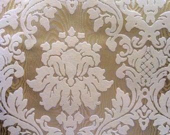 Vintage Wallpaper - Damask Cream Ivory Flock on Gold - 1970s - 1 Yard