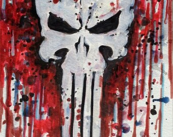 Punisher print, watercolours comics art prints marvel art, comics poster, comics art, marvel prints, punisher poster