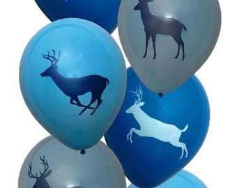 Deer Buck Hunting Biodegradable Blue Balloons 12 inches pkg six. 2 sided