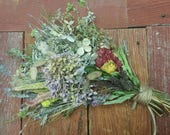 Dried Medium Floral Bouquet 2- Hydrangea* Celosia* Herbs* All Natural from Nature