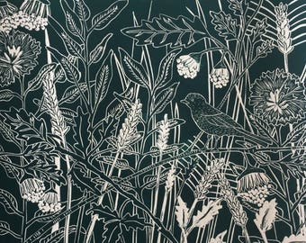 Linocut of 'Hedgerow Heaven' direct from Sue Collins Art. Limited Edition of 4.