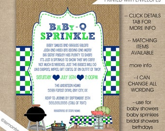 Baby Q invitations, Boy BBQ Baby Sprinkle, FREE SHIPPING digital or printed, couples baby q shower, baby q sprinkle invites, burlap