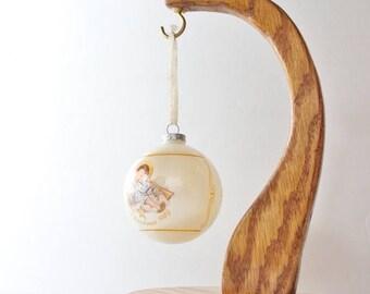 50% half off sale // Vintage 80s Schmid Christmas Ornament - 1989 Angelic Musician Berta Hummel - Ivory, Angel