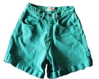 50% half off sale // Vintage 90s Westport Teal Rolled Cuff Denim Shorts Women XS Small