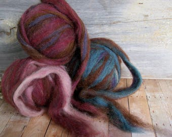 Wool alpaca firestar hand dyed roving top 3 balls 6 ounces for spinning felting crafting chocolate browns rose pinks teal purple