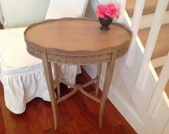 "VINTAGE FRETWORK SIDE Table / Oval Shaped fretwork Side Table / 27"" tall Taupe / Gorgeous detail / Shabby Chic Paris Apt at Retro Daisy Girl"