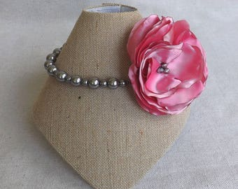 Grey Pearl Choker with Single Satin Flower in Shades of Pink