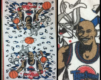 1990's Michael Jordan Space Jam Looney Tunes Bugs Lola Bunny cartoon character hand towel 39x22 cotton basketball Tune Squad made in USA