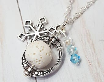Snowflake Diffuser Necklace Essential Oil Jewelry Aromatherapy Gift Anxiety Relief Gift Bridesmaid Gift Lava Stone Bead Snow Holiday Jewelry